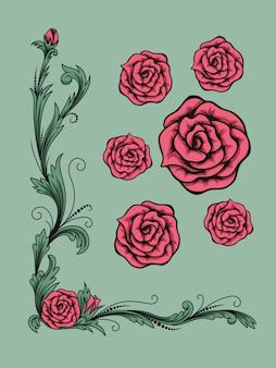 Boda floral o tarjeta de felicitación con ramo de rosas