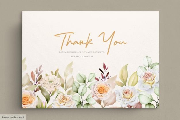 Boda floral romántica dibujada a mano tarjeta de agradecimiento