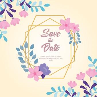 Boda de flores, guardar la fecha, marco floral decoración naturaleza flores tarjeta