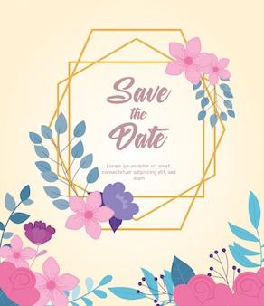 Boda de flores, guardar la fecha, tarjeta de celebración floral del evento