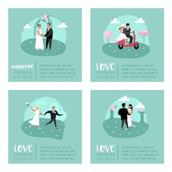 Boda gente dibujos animados novia y novio personajes póster tarjeta