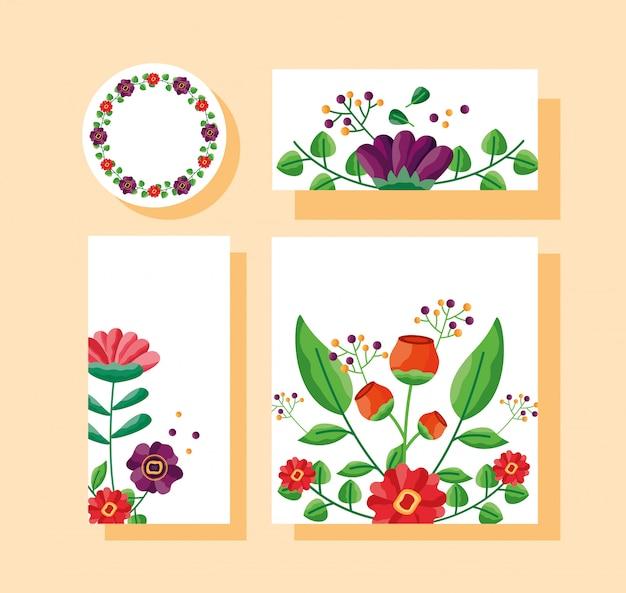 Boda guardar la fecha conjunto de tarjetas de flores