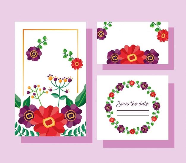 Boda guardar la fecha flores tarjetas