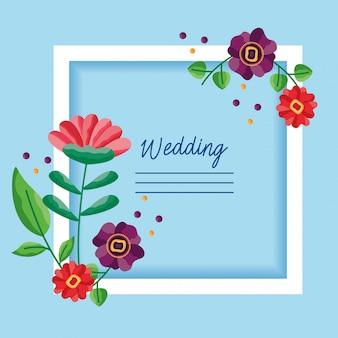 Boda guardar el marco de tarjeta de flores de fecha