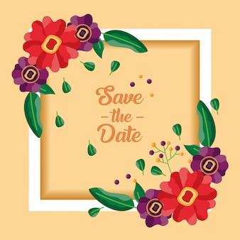 Boda guardar la tarjeta de flores de fecha