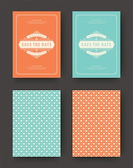 Boda guardar las tarjetas de invitación de fecha vintage tipográficas.