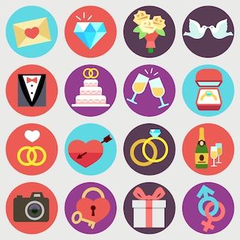 Boda matrimonio nupcial vector iconos planos. conjunto de elementos de la boda aislados en círculos, ilustración