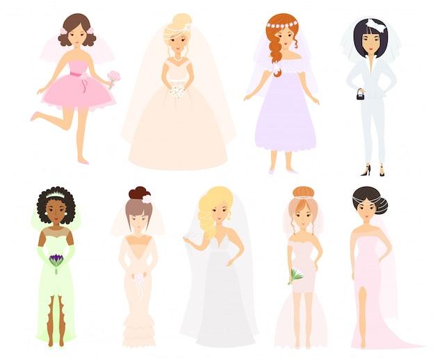 Boda novias personajes vectoriales.