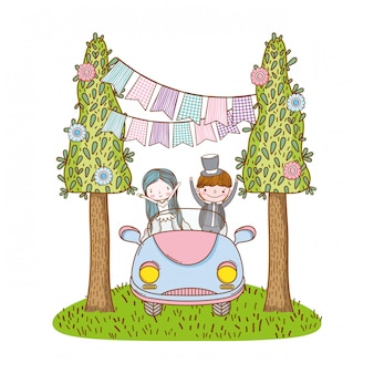 Boda pareja matrimonio linda caricatura