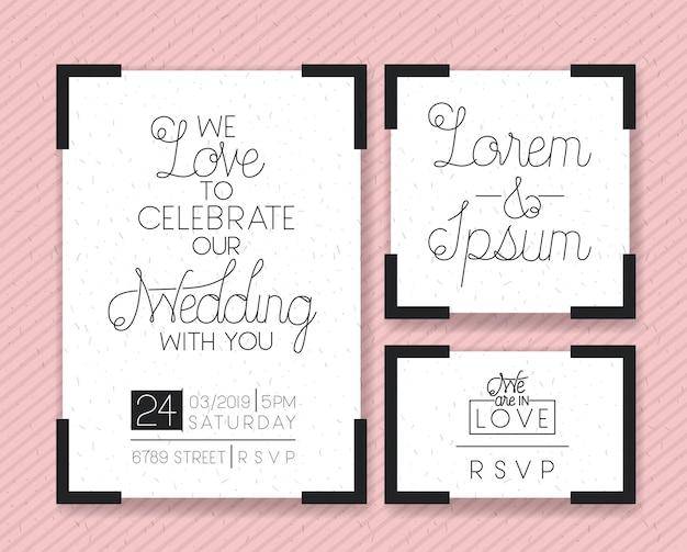 Boda y tarjetas de invitación de matrimonio