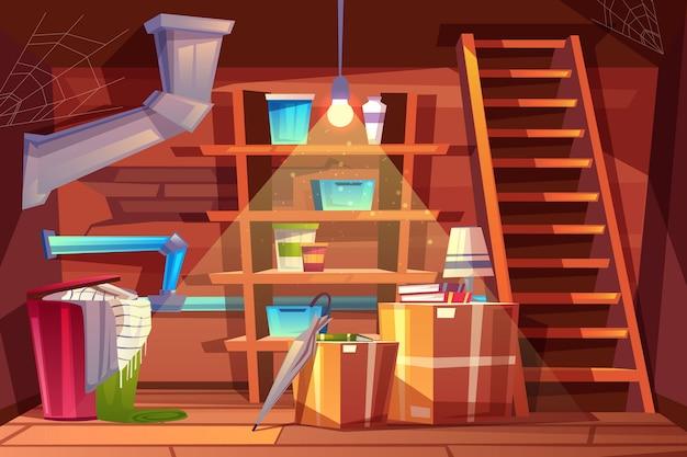 Bodega interior, almacenaje de ropa dentro del sótano en estilo cartoon.