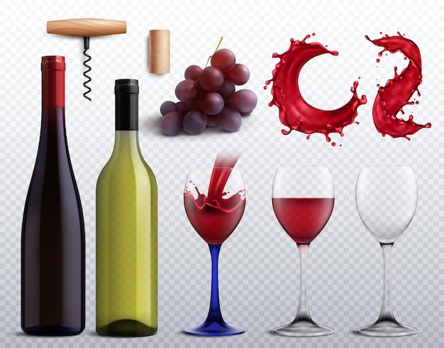 Bodega con uvas, botellas y vasos.