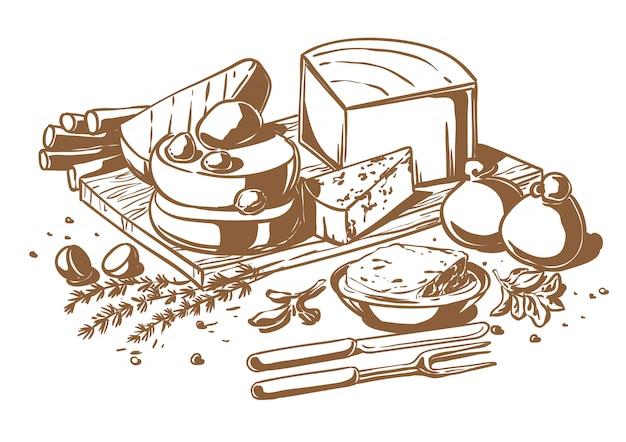 Bodegón de un conjunto de quesos.