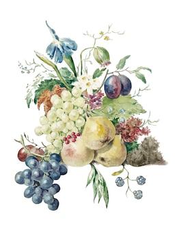 Bodegón de flores y frutas.