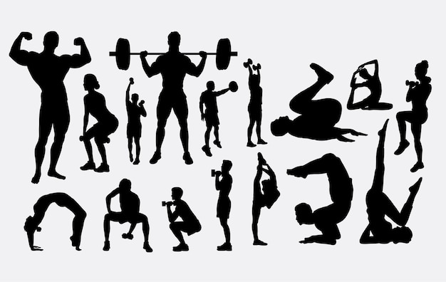 Body building exercise sihouette