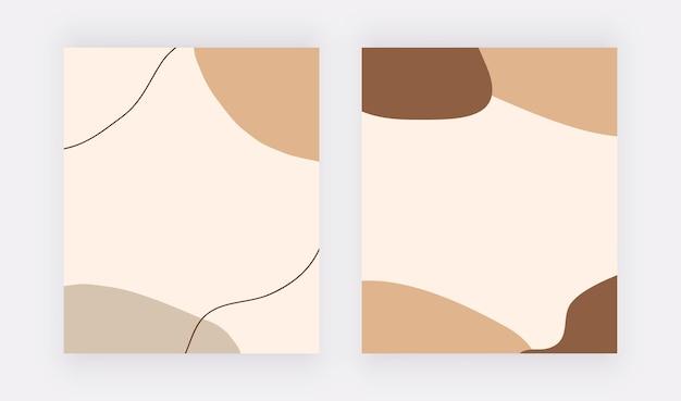 Boho abstracto formas a mano alzada y fondos de líneas