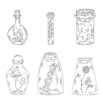Boho botellas doodle set
