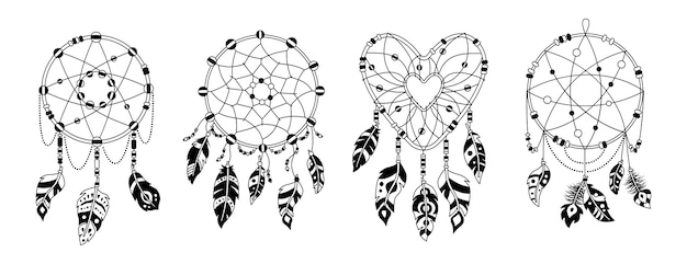 Boho dreamcatcher plumas conjunto de dibujos animados de glifo negro. diseño indio nativo americano