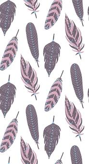 Boho étnico plumas de patrones sin fisuras.