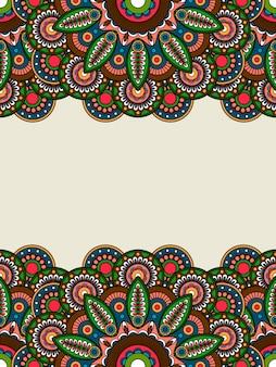 Boho hippie coloreada fronteras florales.