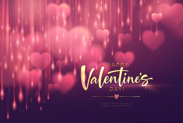 Bokeh borrosa en forma de corazón brillante de lujo para felicitaciones del día de san valentín.