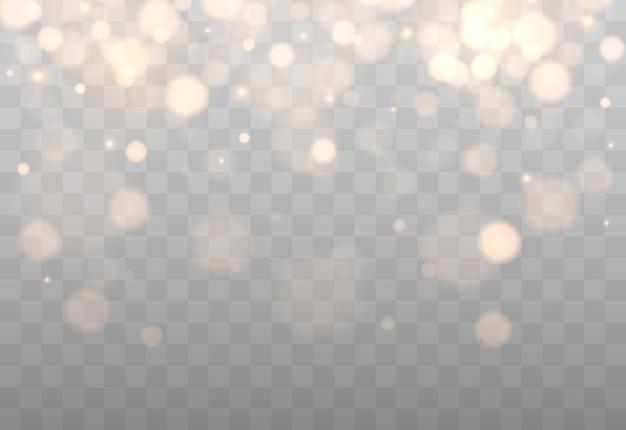 Bokeh brillante aislado sobre fondo transparente luces bokeh doradas con partículas brillantes