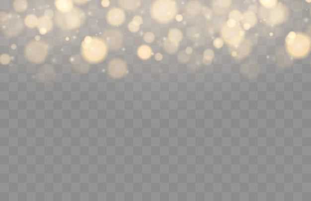 Bokeh brillante aislado sobre fondo transparente luces doradas bokeh con partículas brillantes aisladas ...