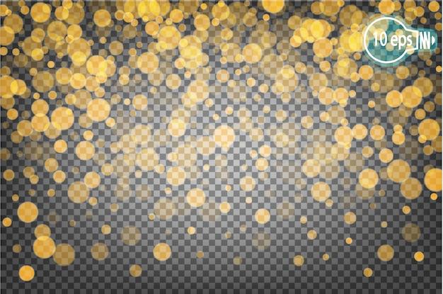 Bokeh brillante de navidad aislado sobre fondo transparente