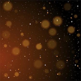 Bokeh de oro, brillantes estrellas doradas y plateadas brillantes sobre fondo oscuro