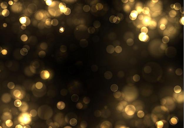 Bokeh de oro luz borrosa sobre fondo negro. plantilla de vacaciones de luces doradas. brillo abstracto desenfocado estrellas parpadeantes y chispas.