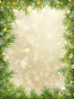 Bokeh de oro de navidad con fondo de marco de ramas de árbol.