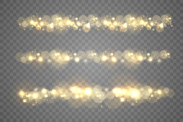 Bokeh de partículas de polvo mágico dorado espumoso sobre fondo transparente, efecto de luz de chispa de navidad, brillo, luces de brillo, chispas de polvo amarillo y brillo de estrella con luz especial, ilustración.