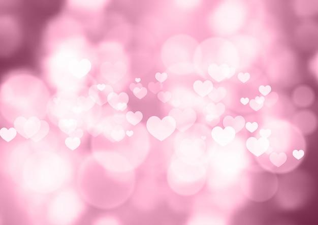 Bokeh rosa corazones fondo de san valentín