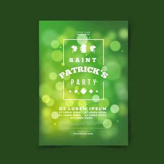Bokeh st. cartel del día de patrick en tonos verdes degradados