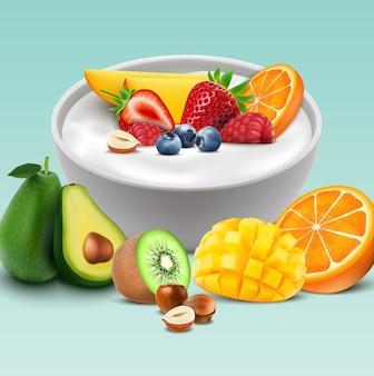 Bol de yogur con frutas mezcladas