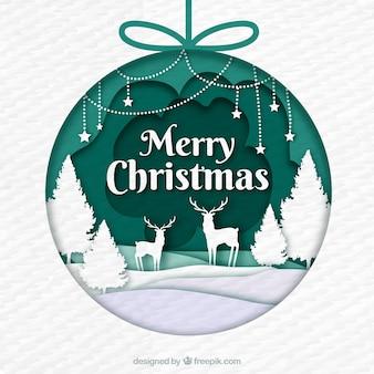 Bola de árbol navideño decorado con una escena en estilo de papel