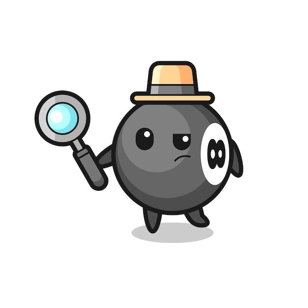 Bola de billar detective personaje está analizando un caso