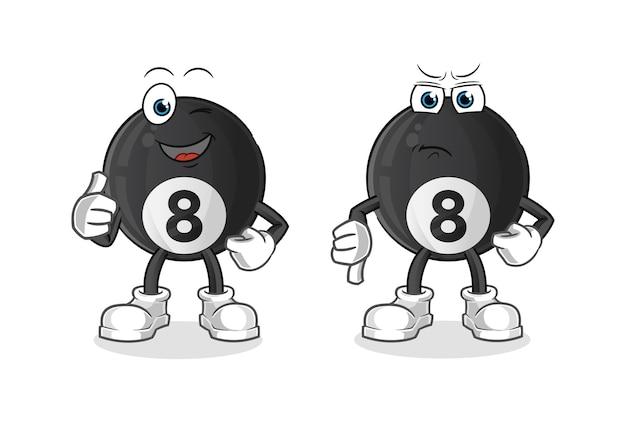 Bola de billar con los pulgares hacia arriba y hacia abajo mascota de dibujos animados de dibujos animados