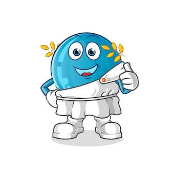 Bola de boliche con dibujos animados de ropa tradicional griega. mascota de dibujos animados