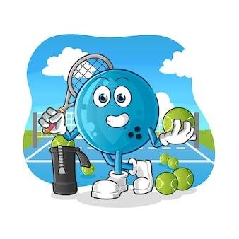 Bola de boliche juega tenis ilustración. personaje