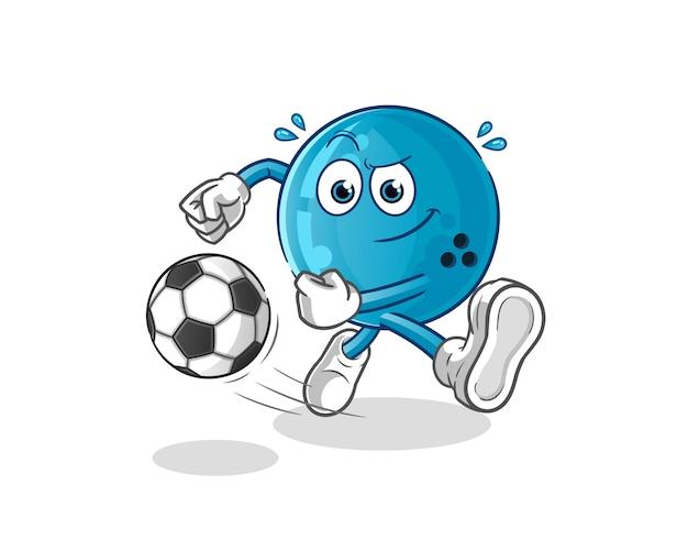 Bola de boliche pateando la bola de dibujos animados. mascota de dibujos animados