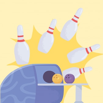 Bola de boliche regresa directamente de una máquina y pasadores deporte recreativo diseño plano ilustración vectorial