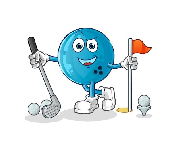 Bola de bolos jugando al golf. personaje animado