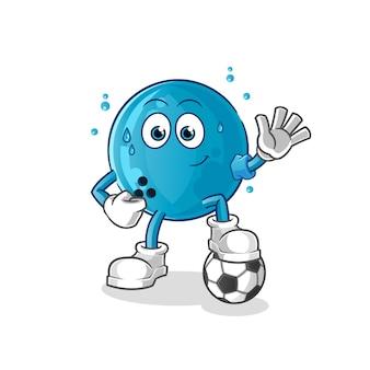 Bola de bolos jugando fútbol ilustración. personaje