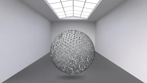 Bola colgante hecha de muchos polígonos más pequeños en la gran habitación vacía. el espacio expositivo es el objeto abstracto con forma esférica.
