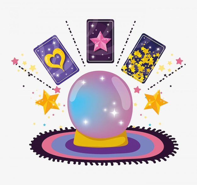 Bola de cristal con cartas mágicas y estrellas.