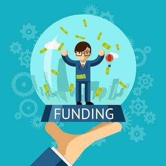 Bola de cristal de dinero. concepto de financiación. empresario de pie entre dinero cayendo
