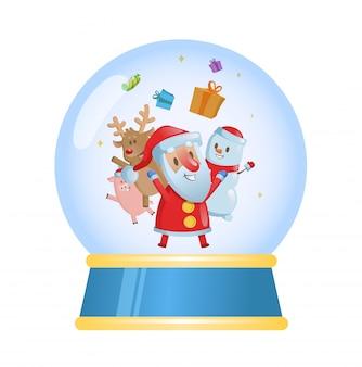 Bola de cristal de feliz navidad con santa y sus amigos. ilustración. sobre fondo blanco.