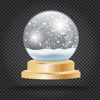 Bola de cristal de navidad con nieve sobre fondo transparente