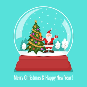 Bola de cristal de nieve de navidad con santa claus y árbol de navidad flat